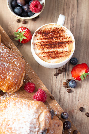 Coffee, Croissants and Strawberries