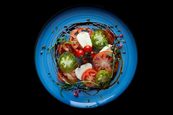 Mediterranean Salad on a Blue Plate