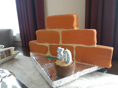 Angie made the cake for Mike - he's a builder. I laid the cake bricks.