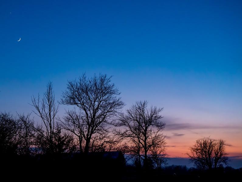 Venus, Moon, Silhouette, Sunset - Prince Edward County, CANADA