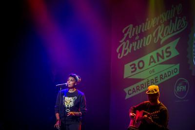 pendant le spectacle / l'émission spéciale sur RFM pour fêter les 30 ans de carrière radio de Bruno Roblès au Comedia (Salle de Concert, Spectacle)