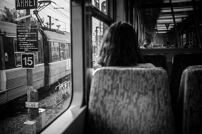 France, Paris : train to Courbevoie , during the balade in August 1th , 2016, in Paris, France - Photo Christophe Bricot.