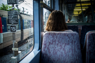 France, Paris : in the train to La Défense during one balade in August 1th , 2016, in Paris, France - Photo Christophe Bricot.