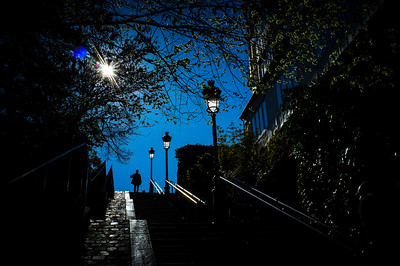 France, Paris :  Escaliers - Butte Montmartre, Sacré Cœur    on May 20th , 2015, in Paris, France - Photo Christophe Bricot