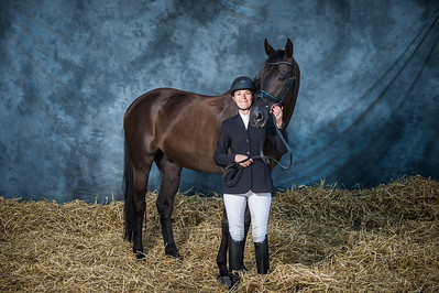 Studio photo shooting during amators dressage competition
