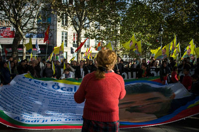 France, Paris : demonstration for the release of Mr Abdullah Öcalan (Kurdish leader in Turkey), on October 21 , 2017, in Paris, France - Photo Christophe Bricot