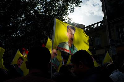 France, Paris : demonstration for the release of Mr Abdullah Öcalan (Kurdish leader in Turkey), on October 21 , 2017, in Paris, France - Photo Christophe Bricot