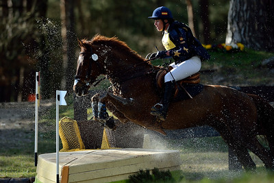 France, Fontainebleau :  MARIA PINEDO RIDING ON CARRIEM VAN COLEN Z  in the Cross Country phase of the Eventing competition of the Crazyride, CICO 3* eventing in Fontainebleau -  20140322 - Photo Christophe Bricot