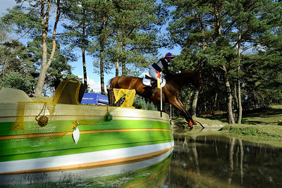 France, Fontainebleau :  ELAINE PEN RIDING ON UNDERCOVER  in the Cross Country phase of the Eventing competition of the Crazyride, CICO 3* eventing in Fontainebleau -  20140322 - Photo Christophe Bricot