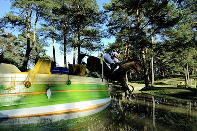 France, Fontainebleau :  LUCY WIEGERSMA RIDING ON MR CHUNKY  in the Cross Country phase of the Eventing competition of the Crazyride, CICO 3* eventing in Fontainebleau -  20140322 - Photo Christophe Bricot