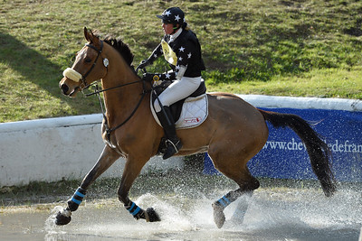 France, Fontainebleau :  ROBERTA (ROO) FOX RIDING ON THE DUTCH HORSE  in the Cross Country phase of the Eventing competition of the Crazyride, CICO 3* eventing in Fontainebleau -  20140322 - Photo Christophe Bricot
