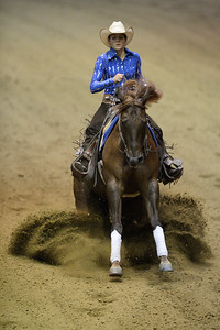 France, Chassieu : Coline Default riding Emy Cowgirls Whiz during the reining International Competition of Equita Lyon, on October 29th , 2016, in Chassieu, France - Photo Christophe Bricot