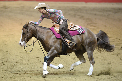 France, Chassieu : Sabine Schmid riding Gunwork during the reining International Competition of Equita Lyon, on October 29th , 2016, in Chassieu, France - Photo Christophe Bricot