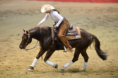 France, Chassieu : Cira Baeck riding Whizzard  during the reining International Competition of Equita Lyon, on October 29th , 2016, in Chassieu, France - Photo Christophe Bricot