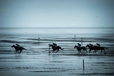COURSES :  ILLUSTRATION, COURSE DE GALOP - COURSES SUR LA PLAGE DE CUXHANEN/DUHNER - 18/08/13 - PHOTO CHRISTOPHE BRICOT -  DUHNEN Mudflat Courses à Cuxhaven Le parc national de la mer des Wadden de Hambourg n'est pas seulement un site du patrimoine mondial de l'UNESCO, mais il est aussi le lieu pour ce qui doit sûrement être l'une des courses de chevaux les plus étranges du monde: les Duhnen Mudflat Courses près de Cuxhaven. Dans le contexte dramatique de l'estuaire de l'Elbe, une voie de navigation internationale, les chevaux et leurs jockeys participer à des courses à travers les vasières détenus à marée basse. Les visiteurs peuvent observer ce spectacle remarquable se dérouler à partir de la digue à proximité.