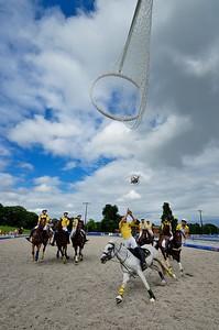HORSEBALL : MATCH ENTRE BEL AIR (TOUT EN JAUNE) ET GRANS OUEST PROVENCE (JAUNE ET BLANC MAILLOT) -  CHAMPIONNATS DE FRANCE HORSE BALL 2013 - HARAS DE JARDY, MARNE LA COQUETTE, France. (Photo Christophe Bricot)