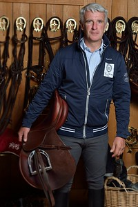 France, Barbizon : Roger-Yves Bost at home for a photo shooting on october 8th, 2013 in Barbizon, Haras des Brulys. -  Photo Christophe Bricot