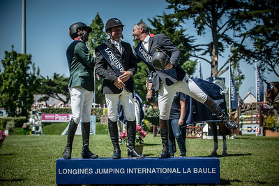 FRANCE, Le La Baule : Abdelkebir Ouaddar (2nd), Eric Lamaze (first place, center) and Patrice Delaveau  during the GRAND PRIX LONGINES VILLE DE LA BAULE in the Jumping CSIO of France on May 15-18th, 2014,  in La Baule, France - 18/05/14 - Photo Christophe Bricot.  Information : Editorial use only - Please, Contact photographer. Utilisation presse uniquement, pour toutes autres utilisations, me contacter.