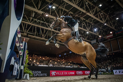France, Lyon :  WINNER, ROGER YVES BOST RIDING ON QOUD'COEUR DE LA LOGE  in action during the Longines FEI World Cup™ Grand Prix presented by GL Events in Lyon on November 2th, 2014 - Photo Christophe Bricot