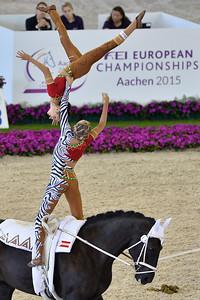 """during the """"PAS DE DEUX KÜR"""" , vaulting competition of the European Championships Aachen 2015"""
