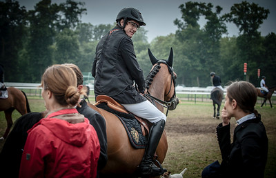 FRANCE, Chantilly :  GUILLAUME CANET RIDING ON RAMSEXY Z  WITH MARINA HANDS (IN RED) AND CHARLOTTE CASIRAGHI   during the Grand Prix of the Longines Global Champions Tour in Chantilly, July 25th to 27th, 2014 - 26/07/14 - Photo Christophe Bricot.