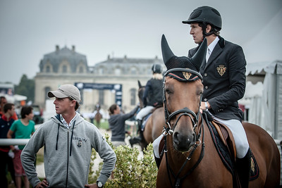 FRANCE, Chantilly :  BEN MAHER WITH GUILLAUME CANET RIDING ON RAMSEXY Z   during the Grand Prix of the Longines Global Champions Tour in Chantilly, July 25th to 27th, 2014 - 26/07/14 - Photo Christophe Bricot.