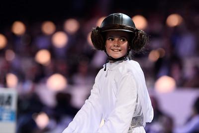 lors de l'épreuve Style & compétition For Amade (épreuve déguisée au profit de l'association Amade), du Longines Paris Masters,