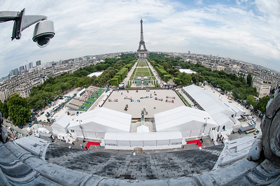 "FRANCE, Paris : General view on the roof of the ""Ecole Militaire"" (service academy) with the Eiffel Tower, the arena during the Longines Global Champions Tour of Paris Eiffel Jumping presented by Gucci 2014 - Champs de Mars , Paris Tour Eiffel (Eiffel Tower)- 04/07/14 - Photo Christophe Bricot.  Editorial Use only. - Please Contact photographer."