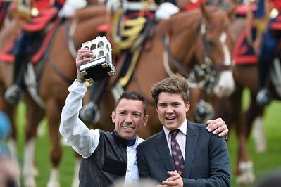 94th Qatar Prix de l'Arc de Triomphe horse race with his son