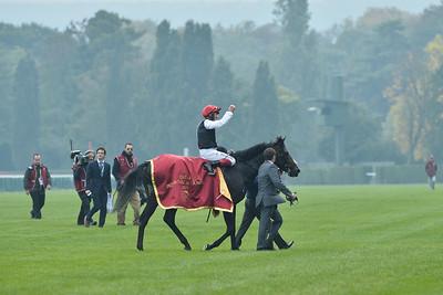 during the 94th Qatar Prix de l'Arc de Triomphe horse race
