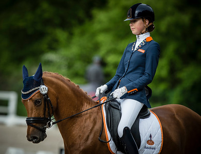 France, Compiègne : Daphne Van Peperstraten (Netherlands) riding Wonderful Girl during the Individual Pony Riders Dressage competition of the CDIY of Compiègne on May 21th , 2016, in Compiègne, France - Photo Christophe Bricot