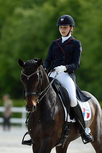 France, Compiègne : Justine Ludot (France) riding bellevue during the Individual Young Riders Dressage competition of the CDIY of Compiègne on May 21th , 2016, in Compiègne, France - Photo Christophe Bricot