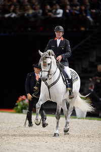 France, Paris : Rafel Soto and the Olympic champion Roger-Yves Bost (Bosty) perform with The Royal Andalusian School of Equestrian Art at the Accor Hotels Arena, Bercy, on  October 8th , 2016, in Paris, France - Photo Christophe Bricot