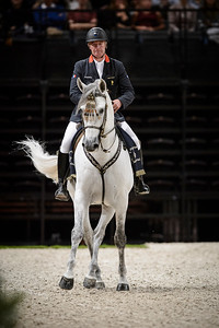 France, Paris : Olympic champion Roger-Yves Bost (Bosty) perform with The Royal Andalusian School of Equestrian Art at the Accor Hotels Arena, Bercy, on  October 8th , 2016, in Paris, France - Photo Christophe Bricot