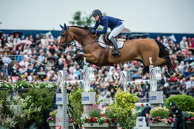 France, Chantilly : Audrey Coulter riding Domino during the Longines Global Champions Tour Grand Prix of Chantilly on May 28th , 2016, in Chantilly, France - Photo Christophe Bricot