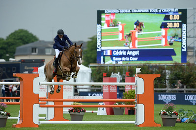 France, Chantilly : Cédric Angot riding Saxo de la Cour during the Longines Global Champions Tour Grand Prix of Chantilly on May 28th , 2016, in Chantilly, France - Photo Christophe Bricot
