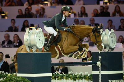 France, Villepinte : Simon Delestre  riding Chesall Zimequest  during the Grand Prix of the Longines Masters Paris, on December 4rd , 2016, in Villepinte, France - Photo Christophe Bricot
