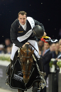 France, Villepinte : Gregory Wathelet  riding Eldorado van het Vijverhof  during the Grand Prix of the Longines Masters Paris, on December 4th , 2016, in Villepinte, France - Photo Christophe Bricot