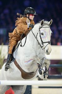 France, Villepinte : Eden Leprevost-Blinlebreton riding Simonetta du Haul  during the Pro-Am for Charity Presented by Hyatt, at the Longines Masters Paris, on December 4rd , 2016, in Villepinte, France - Photo Christophe Bricot