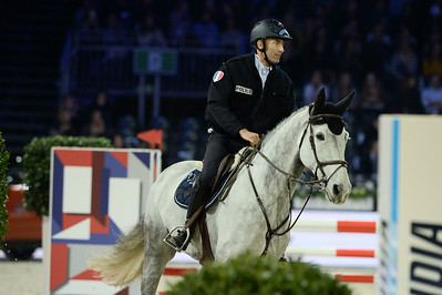 France, Villepinte : Nicolas Canteloup riding cantor de la Pomme  during the Pro-Am for Charity Presented by Hyatt, at the Longines Masters Paris, on December 4rd , 2016, in Villepinte, France - Photo Christophe Bricot