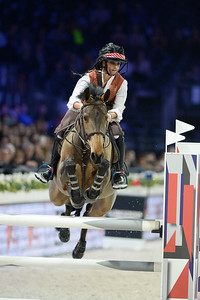 France, Villepinte : Megane Moissonnier riding Pivoine des Quarts  during the Pro-Am for Charity Presented by Hyatt, at the Longines Masters Paris, on December 4rd , 2016, in Villepinte, France - Photo Christophe Bricot