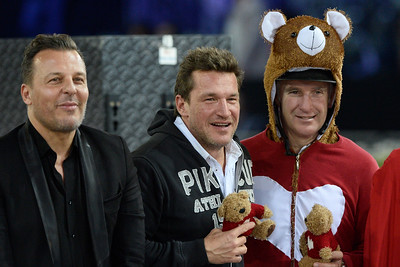 France, Villepinte : Jean Roch, Benjamin Castaldi and Roger-Yves Bost  during the Pro-Am for Charity Presented by Hyatt, at the Longines Masters Paris, on December 4rd , 2016, in Villepinte, France - Photo Christophe Bricot