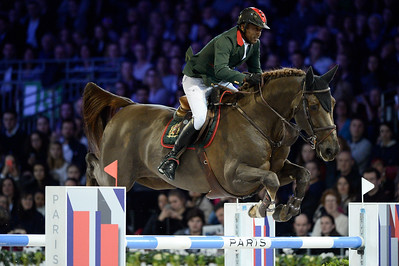 France, Villepinte : Abdelkebir Ouaddar riding Saphir du Talus during the Longines Masters Paris, on December 3rd , 2016, in Villepinte, France - Photo Christophe Bricot