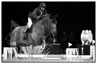 France, Villepinte : Abdelkebir Ouaddar riding Saphir du Talus during the Longines Masters Paris, on December 3rd , 2016, in Villepinte, France - Photo Christophe Bricot