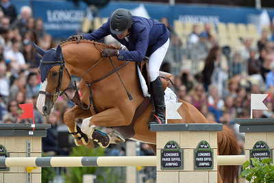 France, Paris : Cedric Angot riding Talent Des Moitiers during the Longines Paris Eiffel Jumping, Global Champions Tour in July 2th , 2016, in Paris, France - Photo Christophe Bricot