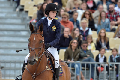 France, Paris : Jessica Springsteen riding Davendy S during the Longines Paris Eiffel Jumping, Global Champions Tour in July 2th , 2016, in Paris, France - Photo Christophe Bricot