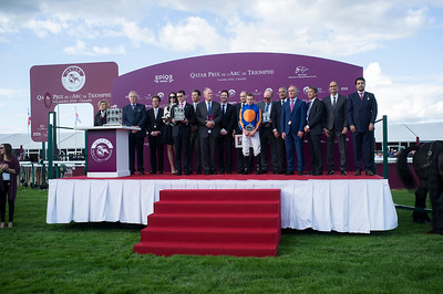 {country}, {city} : ambiance prize giving ceremony for the winner Ryan-Lee Moore riding Found (IRE) during the 95th Qatar Prix de l'Arc de Triomphe on  October 2nd , 2016, in {city}, {country} - Photo Christophe Bricot / Dppi