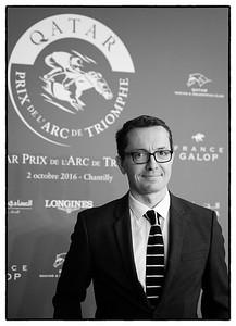 Jacques-Henri Eyraud (Olympique de Marseille) pendant le 95e Prix Qatar Arc de Triomphe, le 2 Octobre 2016, à Chantilly, France - Photo Christophe Bricot / Bestimage