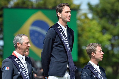 France, La Baule :  Pedro Junqueira Muylaert riding Prince Royal Z Mfs winner of the Grand Prix (c), Patrice Delaveau (left) nd Maikel Van der Vleuten (r) during  Longines International Jumping of La Baule , on May {day th , {year4}, in La Baule, France - Photo Christophe Bricot