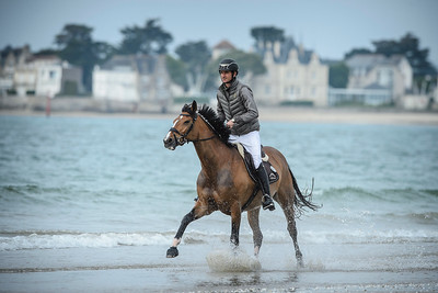 France, La Baule : Steve Guerdat on the beach during the FEI Nations Cup, Longines International Jumping of La Baule , on May {day th , {year4}, in La Baule, France - Photo Christophe Bricot